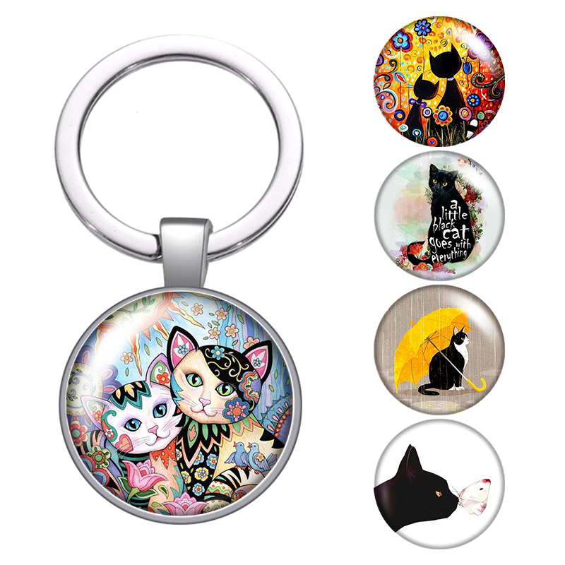 Beauty Cat Love Pet Cats Glass Cabochon Keychain Bag Car Key Chain Ring Holder Charms Silver Keychains Men Women Gifts