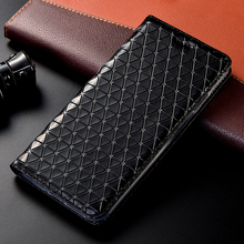 Echt Leer Grid Case Voor Oneplus Een Twee 1 2 3X5 5T 6 6T 7 7T Pro Flip Wallet Stand Schelpen Capa Tassen Cover