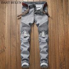 Denim Jeans Men Stretchy Slim Fit Biker Moto Pants Design Pleated Streetwear Mens Ripped Homme Black Gray