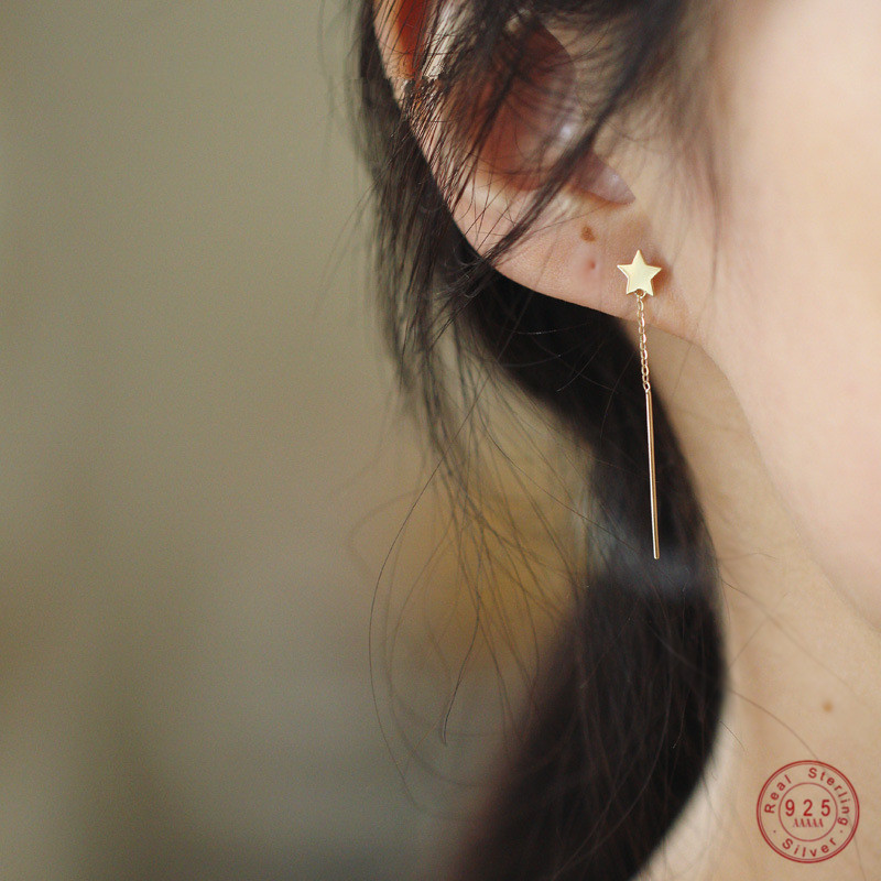 925 Sterling Silver Shiny Star Tassel Earrings Women 14k Gold Plating Long Earrings Fashion Party Jewelry Accessories Gifts