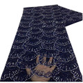 Blue African Lace Fabric 2021 High Quality Nigerian Lace Fabric 5 Yards French Sequins Lace For Wedding Dress xz-200