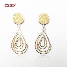 CXQD new Personality Dangle Drop  Earrings For Women Girls Alloy Gold Resin Drop Earrings Brincos Fashion Jewelry Christmas gift 2019 fashion new best selling alloy drop sequin earrings niche temperament simulated pearl dangle brincos for women jewelry gift
