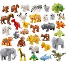 Grande bloco de construção compatível duplos tijolos série animal modelo figuras elefante macaco frango panda crianças brinquedos educativos