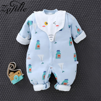 ZAFILLE 2020 Baby Girl Rompers 100% Cotton Winter Cartoon Fruit Animal Warm Jumpsuit For Baby Girl Boy Newborn Baby clothes