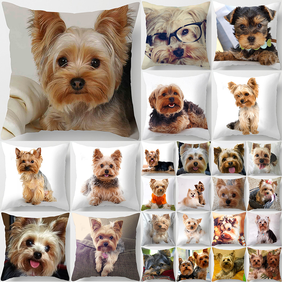 1PC Cute Dog Yorkie BICHON Dog Yorkshire Decor Print Pillow Case Bedroom Sofa Waist Cushions Cover Car Decoration Cushion Cover