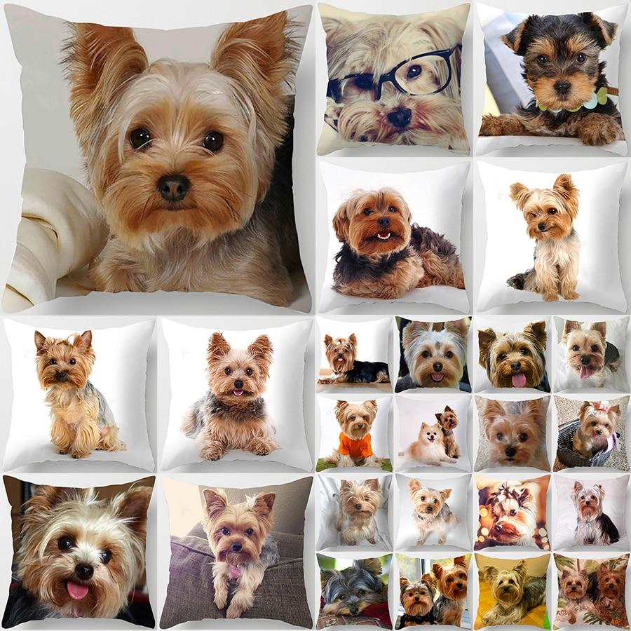1PC Cute Dog Yorkie BICHON Dog Yorkshire Decor Print Pillow Case Bedroom Sofa Waist Cushions Cover Car Decoration Cushion Cover