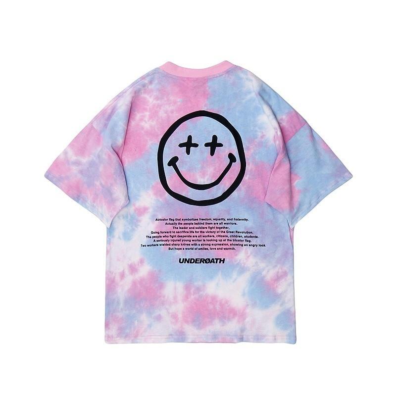 2021 Men Tie-dyed Letterprint T-shirt Hip Hop Street Style Harajuku T-shirt Summer Short Sleeve T-shirt Cotton Casual T-shirt