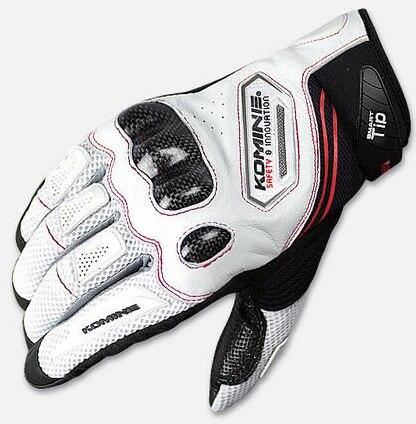 Biały czarny KOMINE GK-167 z włókna węglowego skórzane rękawiczki motocykl rękawice motocyklowe