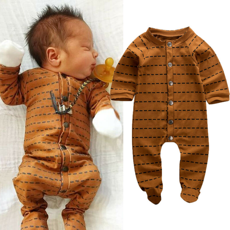 Newborn Baby Boy Girl Wrapped Foot Jumpsuit Cotton Comfortable Long Sleeve Striped Playsuit 0-6M Infant Baby Clothes