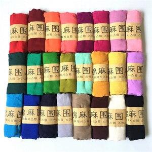 Image 5 - Écharpe à bulle en coton pour femmes, grande taille, châle froissé, bandeau musulman, Hijabs, couleur bonbon, écharpe automne et hiver
