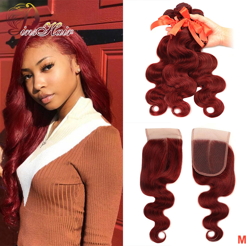 Pinshair 99J Bundles With Closure Body Wave Bundles Red Human Hair Wave Bundles With Closure Peruvian Non-remy With Baby Hair