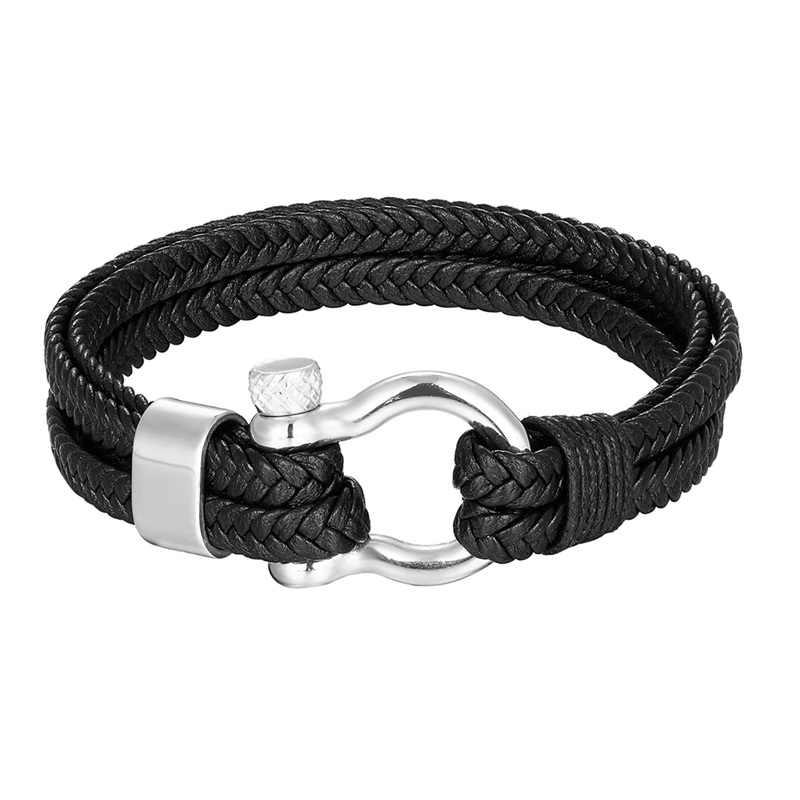 2019 Nieuwe Mode Roestvrij Stalen Armband Mannen Punk Lederen Armbanden en Armbanden Charm Sieraden Groothandel Pulseira Homens