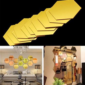 12Pcs 3D Mirror Wall Sticker Home Decor Hexagon Decorations DIY Removable Living-Room Decal Art Ornaments For Home Drop ship image