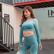 Women Seamless Sport Shirt Sports Wear For Women Gym Running Top Long Sleeve Yoga Workout Tops цены