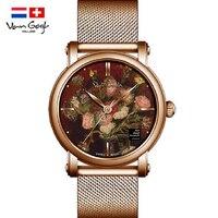 VAN GOGH Watches Women Tide Brand Quartz Watch 3D Oil Painting Top Brand Luxury Ladies WristWatch Stainless steel strap relogio