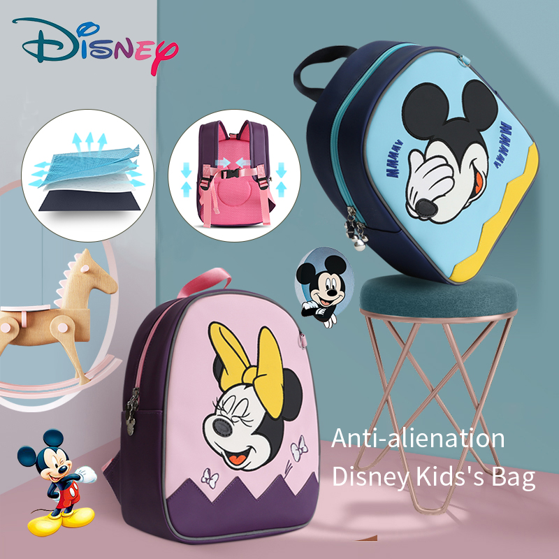Disney Baby Mickey Minnie Backpack Cartoon Toddler Anti Lost Backpack Cartoon Antilost Wrist Link Children Schoolbag Leashes Bag