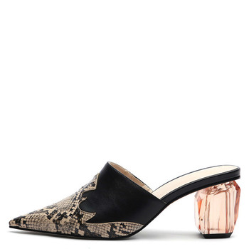YECHNE Summer Women Snakeskin Pattern Slipper Transparent Hooks Shoes Punch Shoe Woman Snakeskin Pattern Sandals Sexy
