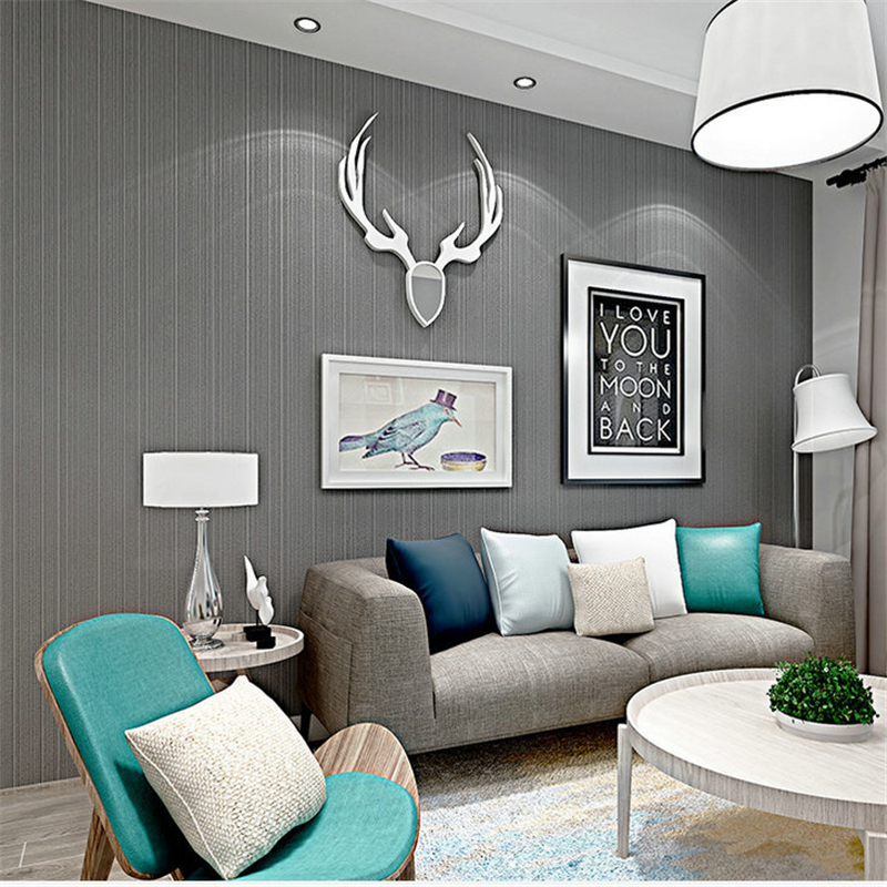 WELLYU Modern Simple Plain Solid Color Non-woven Wallpaper Vertical Stripes Living Room Full Bedroom Warm Wallpaper