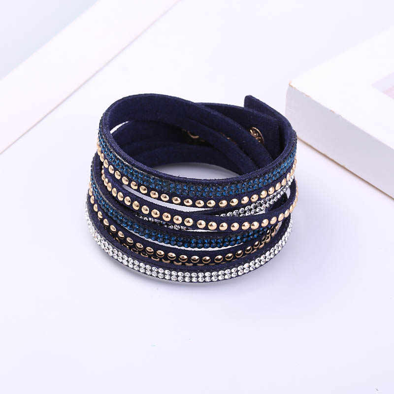 MAIKALE Vintage Long Woven Leather Bracelets for Women Multilayer Rivet Drilling Wild Bangles Female Jewelry Accessories Gifts