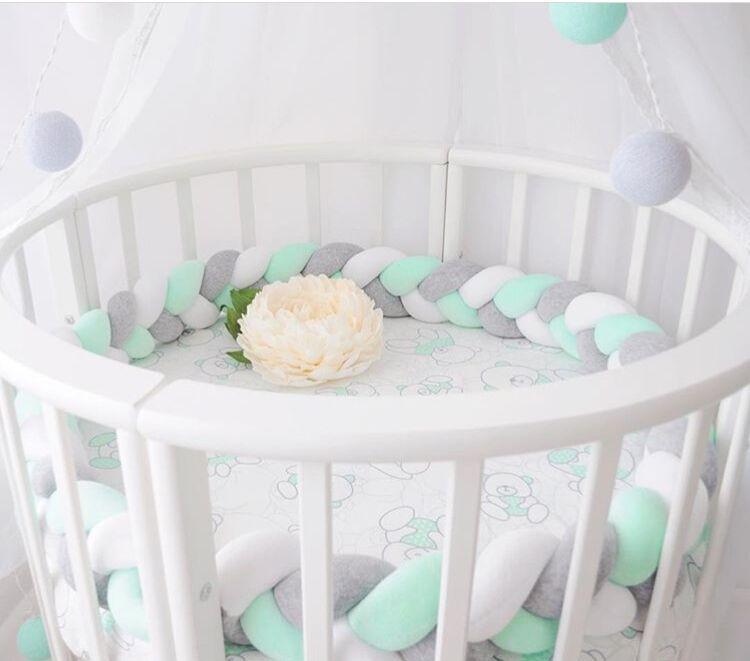 3M Length Baby Room Decor Baby Bedding Set Weaving Plush Knot Baby Nursery Crib Bumper Kit De Berco