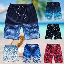 Летние мужские пляжные шорты, повседневные, быстросохнущие, с принтом, для серфинга