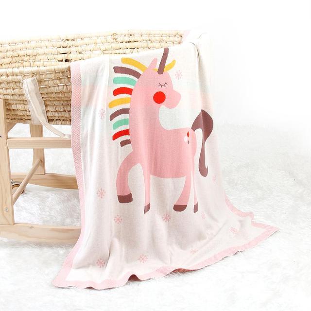 Manta de punto unicornio blanco 1