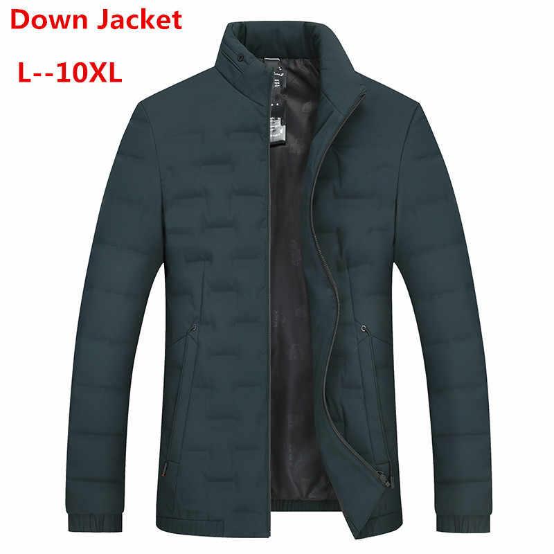 10XL 8XL 가을 겨울 자켓 남자 새 커플 얇은 코트 90% 오리 울트라 라이트 슬림 스탠드 칼라 코튼 패딩 솔리드 파커