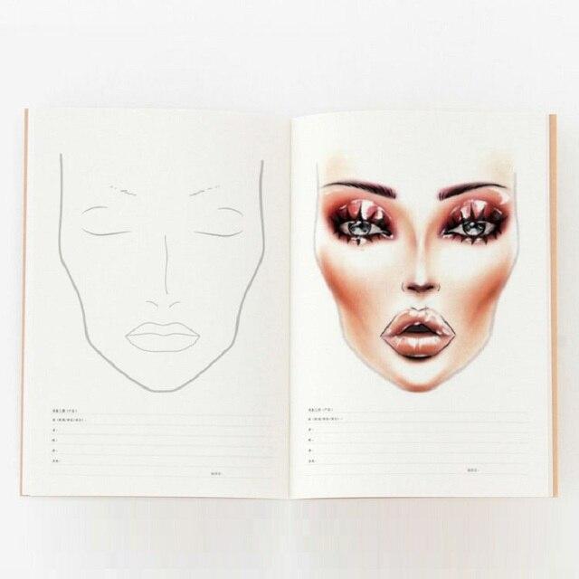 A4 Facechart נייר איפור נייד מקצועי איפור אמן עיסוק תבנית איפור ציור ספר