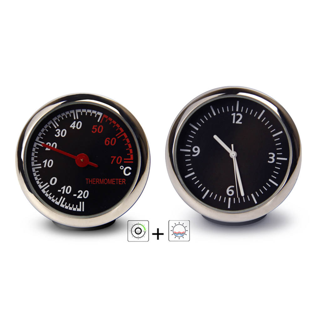 Auto Car Electronic Clock Automotive Mini Car Digital Thermometer Alloy Electronic Digital Quartz Dashboard Decorative