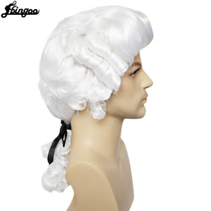 Image 2 - Ebingoo White Lawyer Judge Wig Baroque Curly Male Colonial Deluxe Historical Costume Synthetic Cosplay Wig for Halloween Cosplay