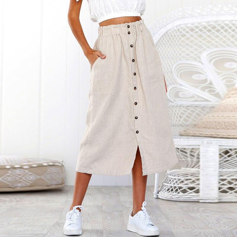 Womens Daily Summer Bohemia Soft And Comfortable High Waist Line Button  Beach Wrap  Maxi Long Skirt