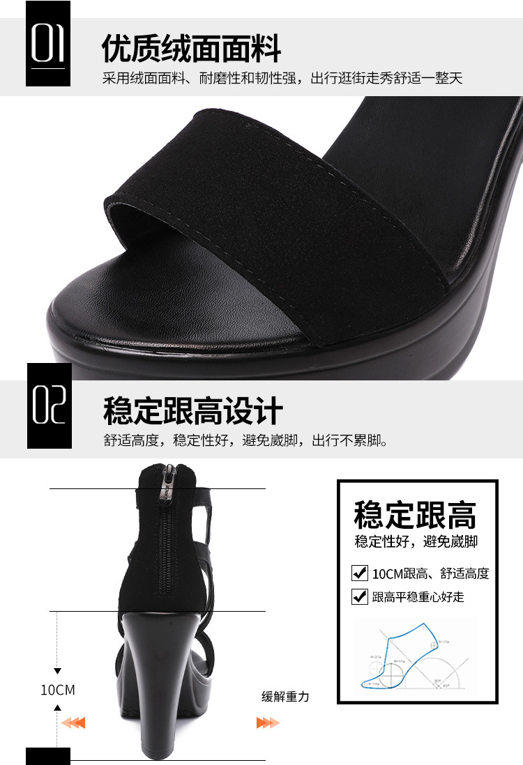 Roman Sandals women 2020 summer high heels peep-toe thick heel waterproof platform plus-size 41-43T catwalk model shoes