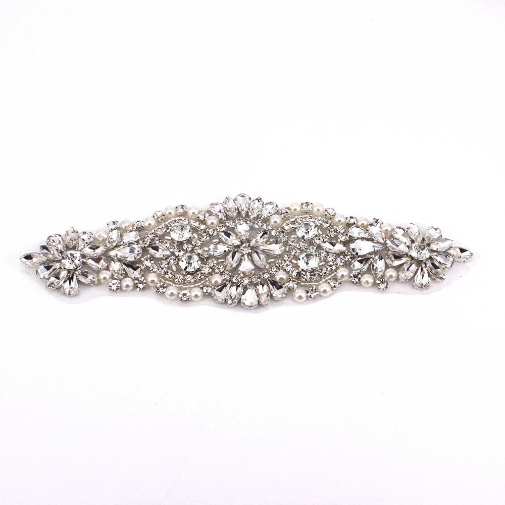 Handmade gold silver bridal beaded crystal appliques patch iron on for wedding dresses garment sash Wedding rhinestone applique