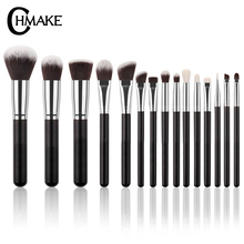 CHMAKE Brand 15PCS Black/Silver Professional Makeup Brushes Set Make up Brush Tools kit Eye Liner Shader natural-synthetic hair
