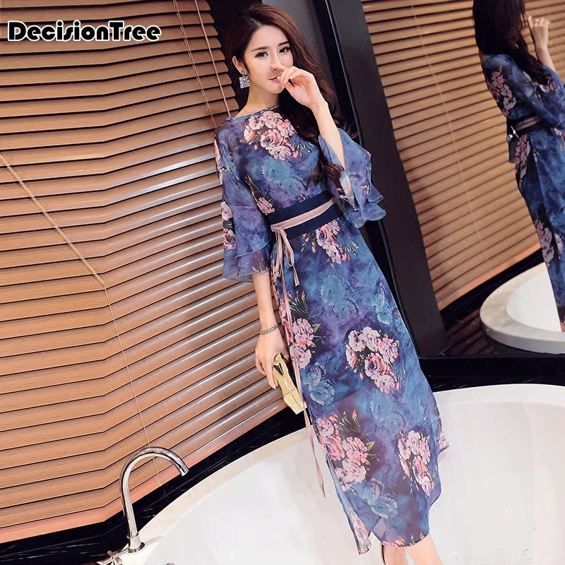 2020 Chinese Traditional Long Dress Designed Printed Retro Cheongsam Women Chinese Traditional Dress Qipao Chinese Dress