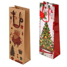 12Pcs Christmas Series Printing Kraft Paper Tote Bag for Red Wine Packing 12.5x8x36.5cm