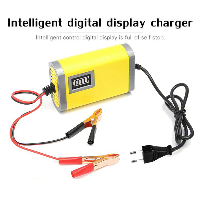 12V 2A Smart Car Battery Charger Full Automatic AGM VRLA Lead Acid GEL Intelligent Motorcycle Charger With LCD Display AC 220V