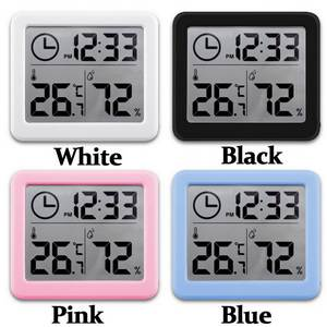 Hygrometer Electronic-Temperature-Humidity-Monitor-Clock Multifunction Large Automatic