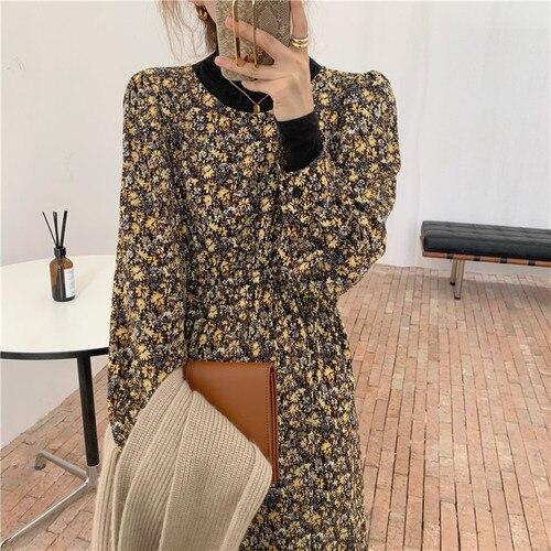 2021 New Spring Design Women Korean Japan Style O Neck A Line Floral Printed Retro Vintage Chic Long Dress N566 9