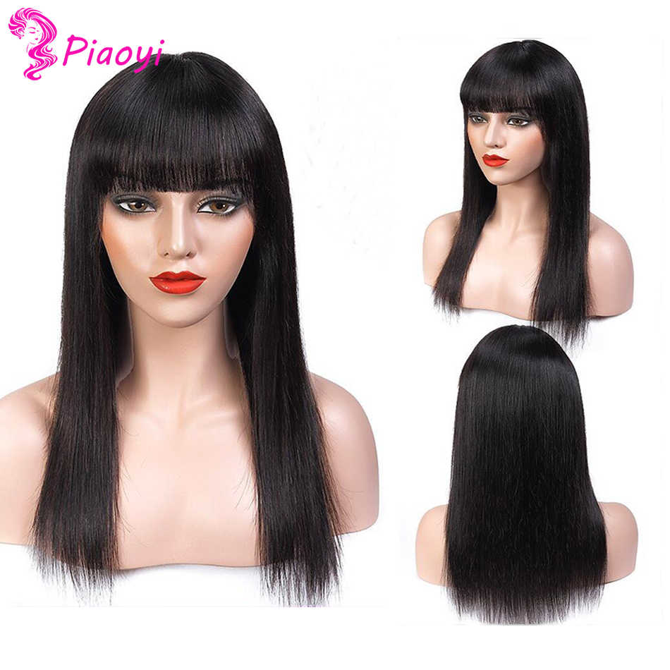 Straight Human Hair Wigs With Bangs Pre Plucked Full Machine Made Wigs Brazilian Remy Hair Wig Natural Color No Lace Wigs
