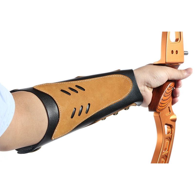 Cowhide Archery Arm Protector Guard Restraint with Hardware Fasteners for Recurve Hunting Archery Accessory