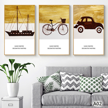 Modern Abstract Oil Painting Print on Canvas 3pcs Cartoon Car Ship Landscape Printing Wall Art Picture Painting for Hom Decor