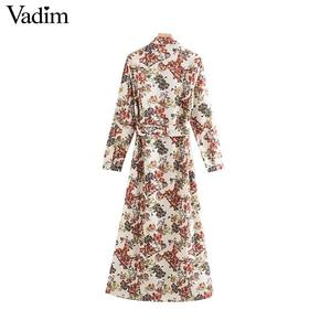 Image 2 - Vadim women sweet floral print maxi dress bow tie sashes long sleeve female casual chic dresses ankle length vestidos QD070