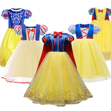 Girls Snow White Fancy Costume Puff Sleeve Halloween Party Princess Dress Up Clothes Children Birthday Carnival Outfit Frocks