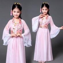 Hanfu, traje tradicional chino antiguo para niñas, vestido para actuación en el escenario de baile, trajes de hada folclórica para mujer, traje Tangsuit para niños