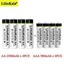 4 stücke Liitokala 1,2 V AA 2500mAh Ni-Mh akku + 4 stücke AAA 900mAh für Temperatur gun fernbedienung maus batterien