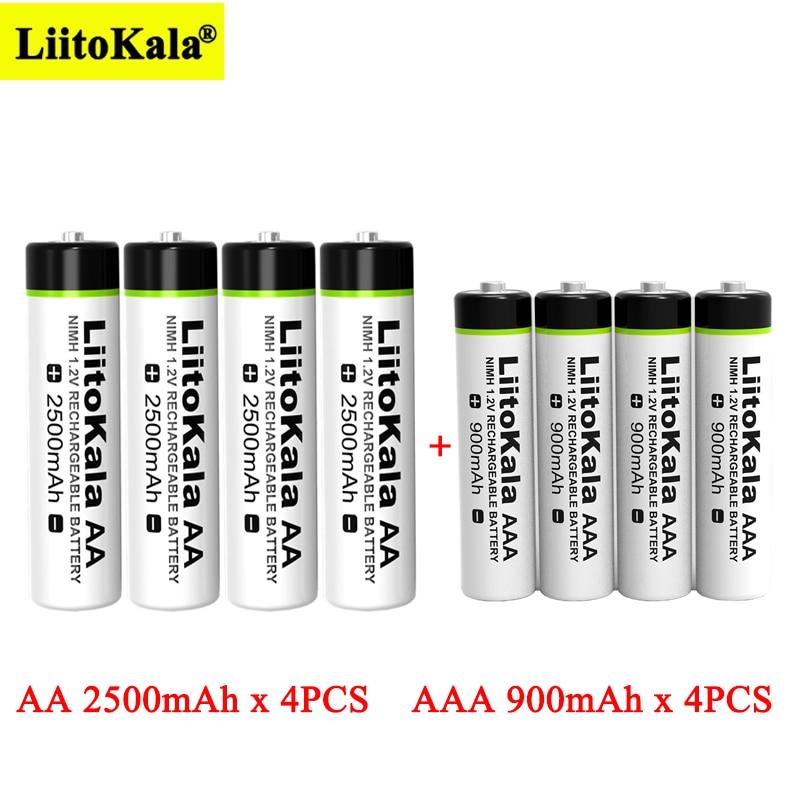 Liitokala – 4 batteries Ni-MH rechargeables AA 1.2V 2500mAh + 4 batteries AAA 900mAh pour la température, pour télécommande, pistolet et souris