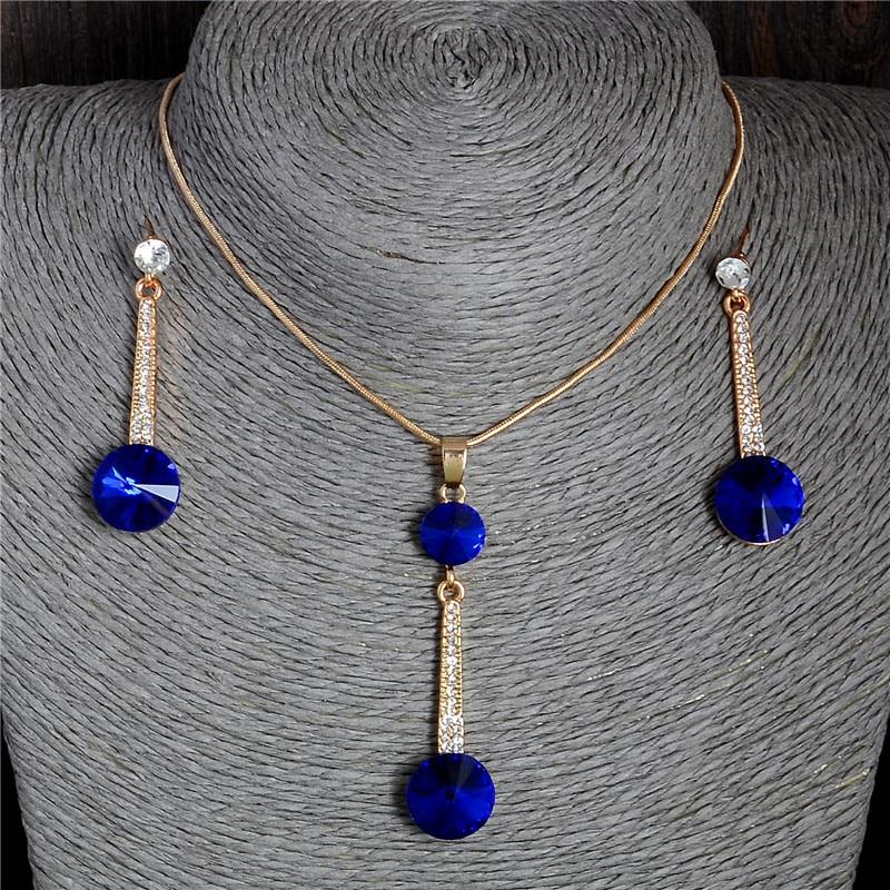 Costume Fashion Clip on Earrings Gold Pendant Dangle Square Blue Navy Mariage J1