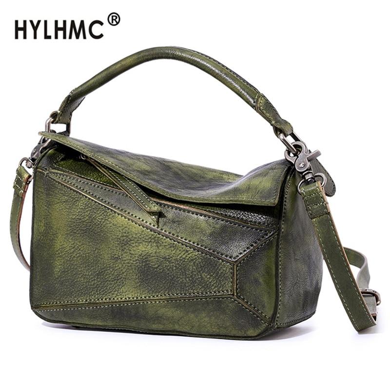 vintage Leather crossbody bag Women's handbag new retro leather female small shoulder messenger bag soft leather handbags