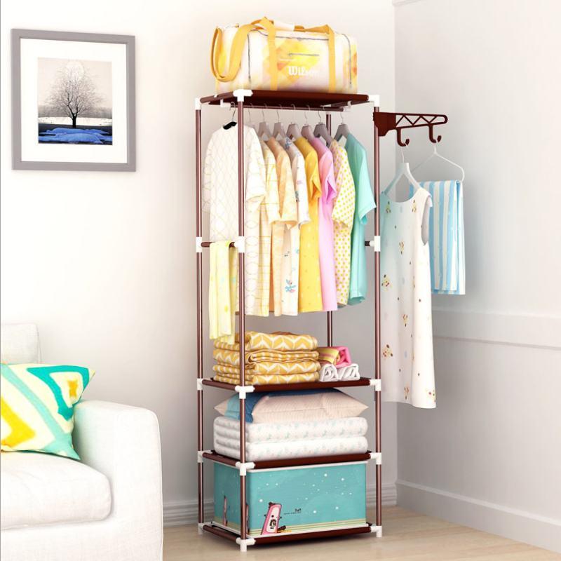 Simple Metal Iron Multifunctional Coat Rack Floor Standing Clothes Hanging Storage Shelf Clothes Hanger Racks Bedroom Furniture